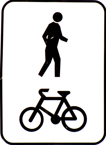 shared path: sign indicating path is shared by pedestrians and cyclists