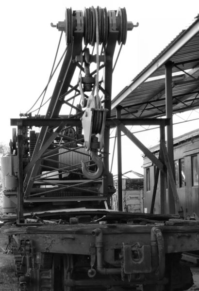 old railway crane: old railway crane and repair equipment used in restoration work