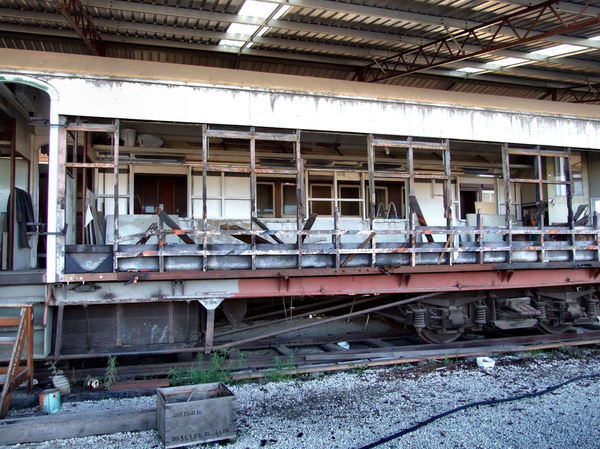 repair and restoration1: stripped railway carriage being repaired and restored