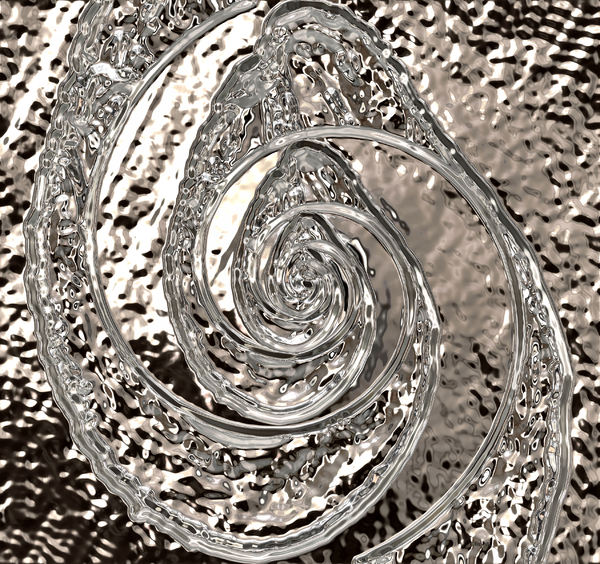 liquid silver spiral: abstract background, texture, patterns and perspectives