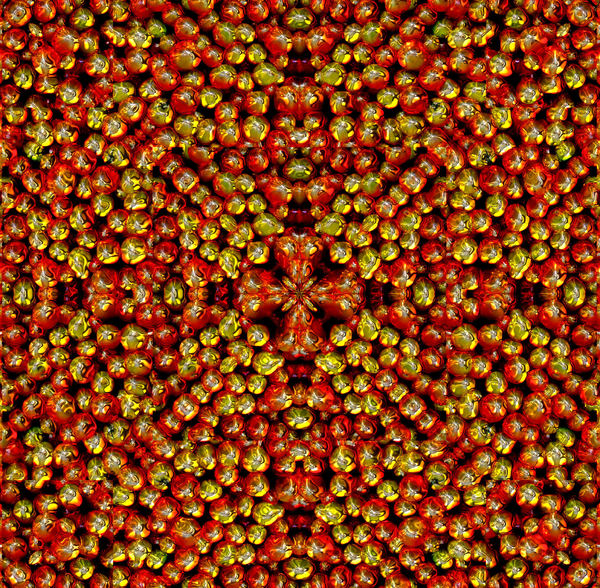 Christmas Bauble patterns2: red & gold abstract baubles background, texture, patterns and perspectives