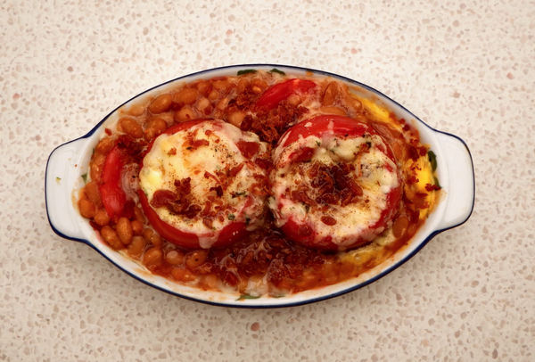 baked beans and tomato meal3: a layered meal of baked beans, tomatoes and grated-melted cheese