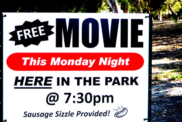 park production: general sign promoting movies in the park