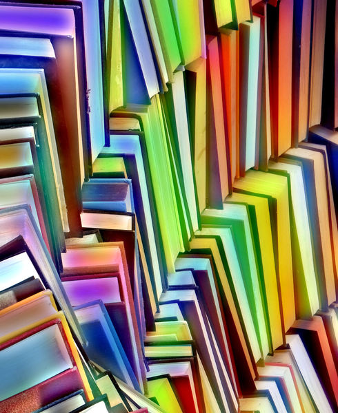 rainbow book colors1: abstract colored book collections