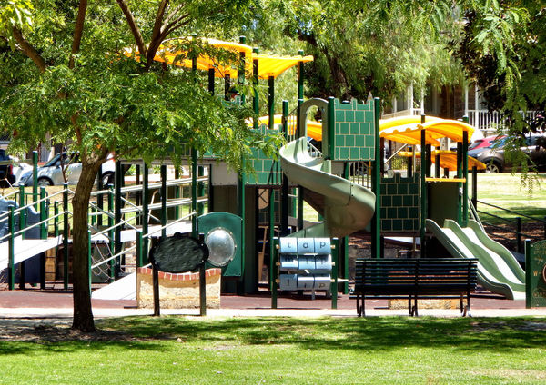 park playground5b: children's playground equipment in suburban park