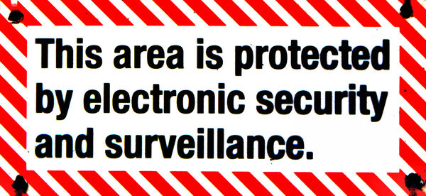 secure protection1: sign indicating active constant monitoring