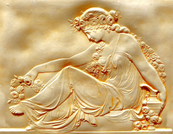 goddess of roses - ceramic: bas-relief ceramic panel of Greek garden deity