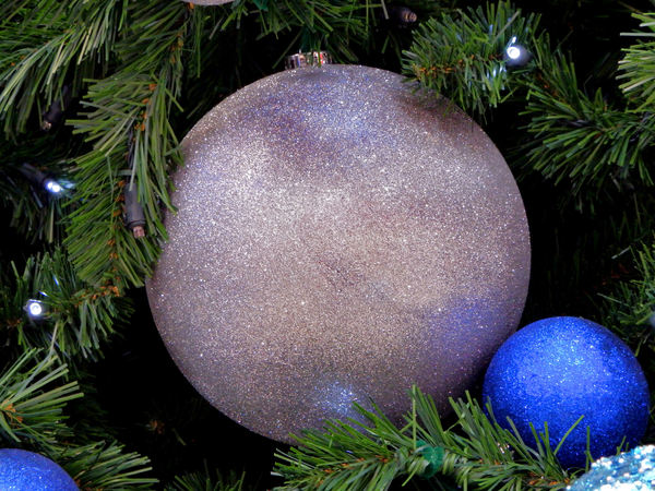 Christmas is coming11: blue and silver Christmas baubles with artificial pine