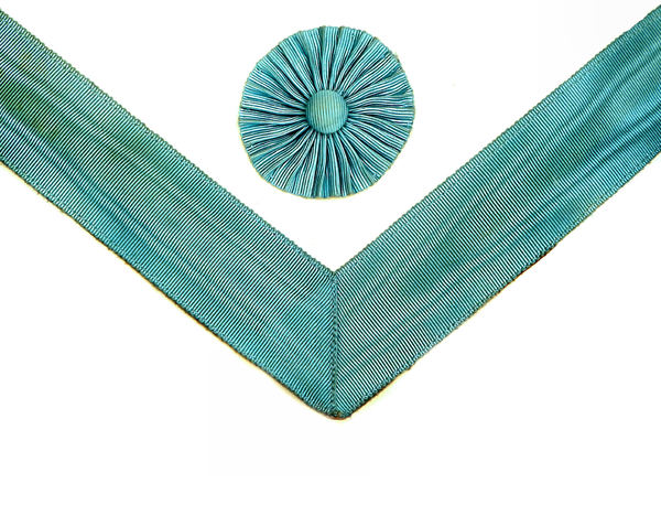 ribbon & rosette: light blue ribbed cloth ribbon & flower-like ribbed rosette