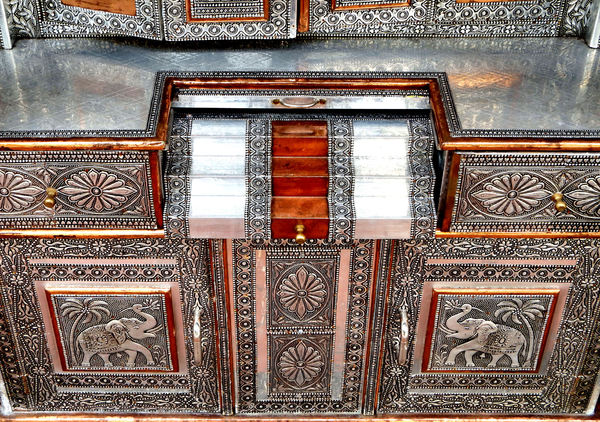 fine filigree cabinet2: fine metalwork on Indian cultural/religious home cabinet