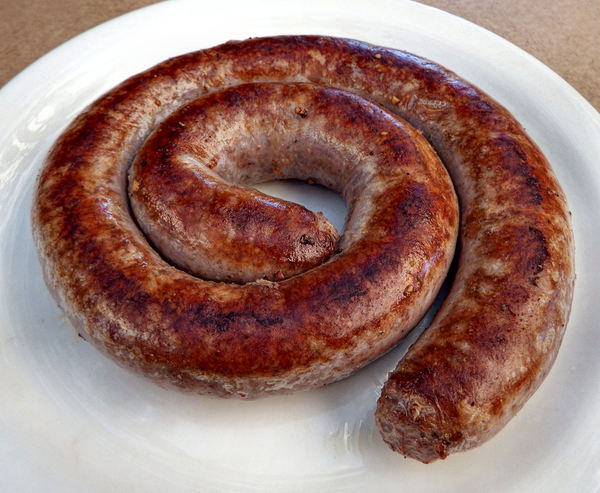 boerewors3: South African national beef sausage (with spices & other ingredients) – content & quality protected by legislation  -  cooked