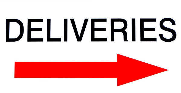 delivery direction: sign indicating where deliveries are to be made