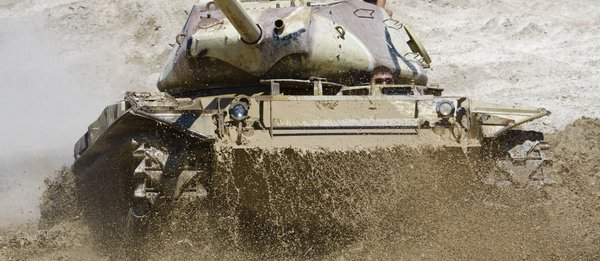 M41Tank Splashes Through Water: US Army M41 Walker Bulldog Tank splashes through water.