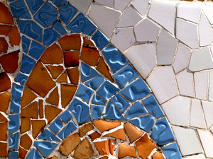 Tile wall: Tile wall at Parc Guell, Barcelona.