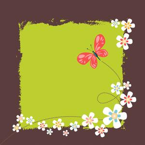 Frame with flowers and butterf: Frame with flowers and butterfly