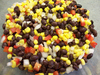 Corn Bean Salad: Corn, black beans, onion, sweet red pepper dressed with lime juice and cumin.