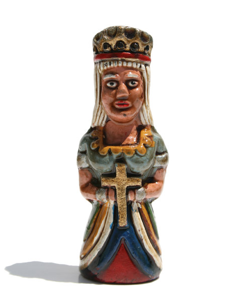 The Queen: Figures from a handmade Incas & Conquistadors chess set purchased in Peru.