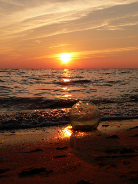 sunset with glassball: sunset with glassball