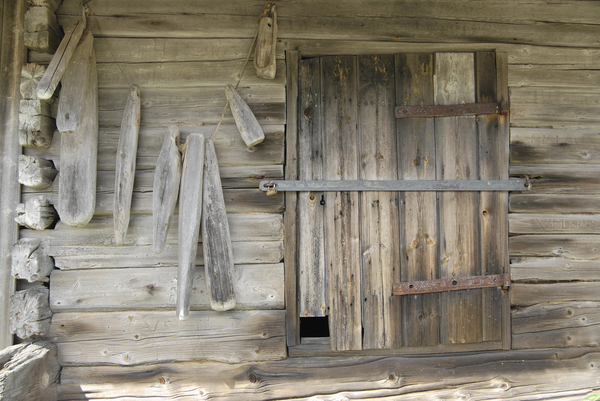 Wooden Shed: Door and other datails of ancient rural shed