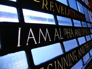 I AM: Stained Glass of Wolfville Baptist Church, Wolfville, Nova Scotia - the oldest continuing Baptist Church in Canada