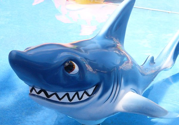 Smile: Toy shark in a pool