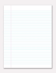 Lined Notepaper: Single sheet of ruled feint paper.  With drop shadow on light grey background.  Illustration.