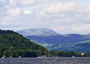 Windermere: View of Langdale from Lake Windermere, Cumbria, UK.