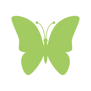 Green Butterfly Icon: Green butterfly Icon on white background.