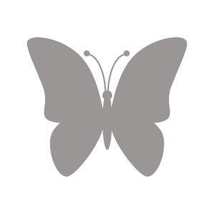 Silver Butterfly Icon: Silver butterfly icon on a white background.