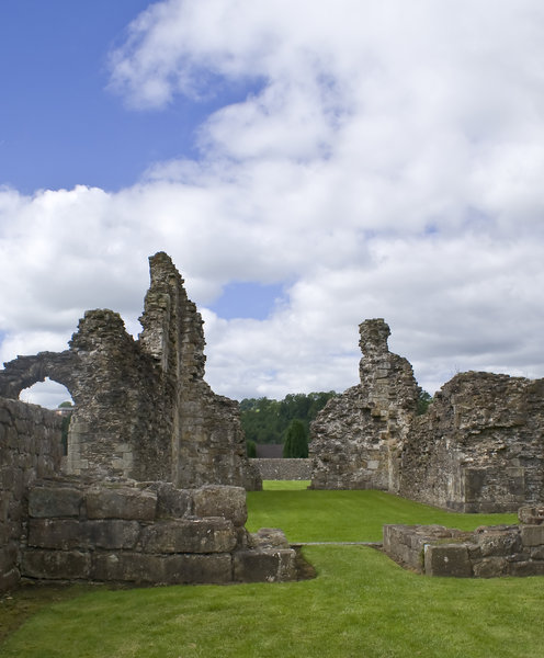 Sawley Abbey 2: The ruins of Sawley Abbey, Lancashire.  Founded by the Cistercian Monks, with the assistance of William de Percy, in 1147 and continued functioning until it's dissolution in 1536,