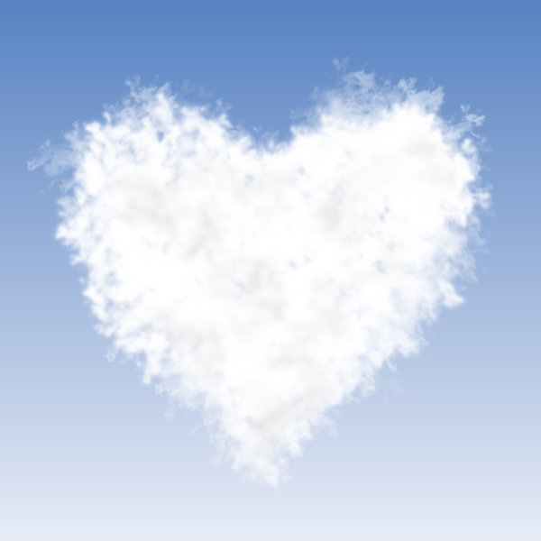 Cloud Heart: A graphic illustration of a heart made of clouds.  Lots of copy space.
