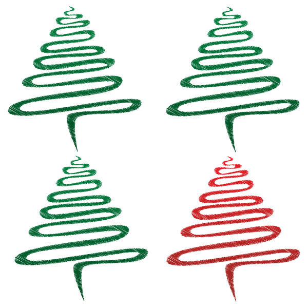 Scribble Xmas Trees: Group of abstract Christmas trees, three green, one red over white.