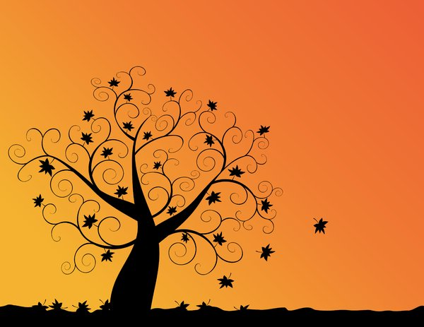 Autumn Sunset: Abstract swirly tree with autumn leaves and sunset orange background.