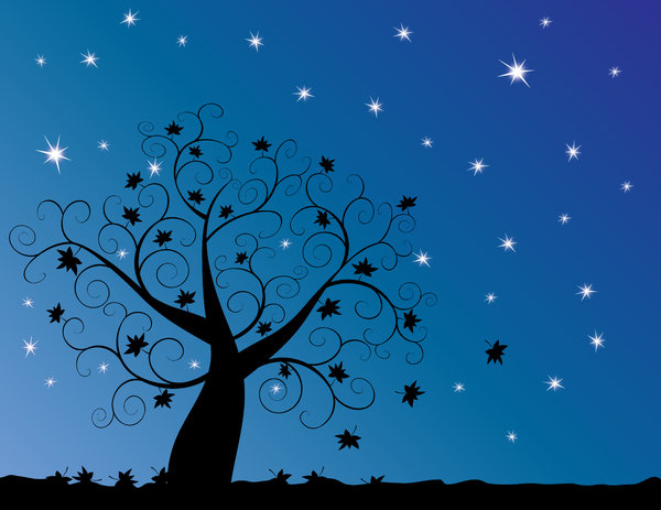 Twilight Tree: Abstract swirly tree at twilight with starry blue background.
