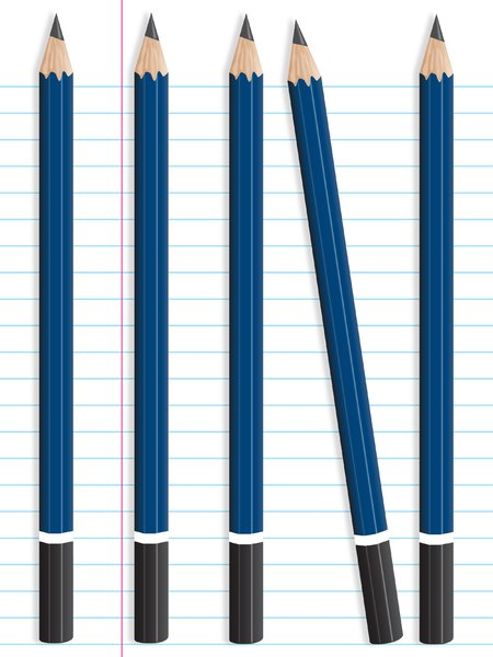 5 Pencils on Notepaper: 5 pencils on a notepaper background.  Illustration with drop shadow.