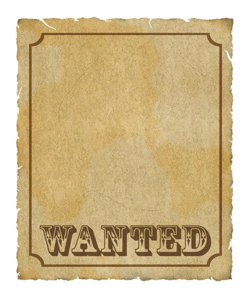 Wanted Poster 2: Grungy parchment poster:  Wanted with border.  Lots of copy space.