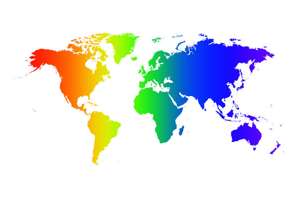 Rainbow World: Rainbow world.  Multicoloured gradient map over white background.