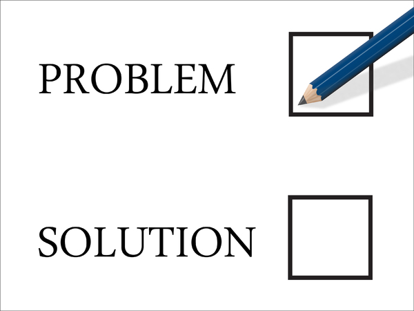 Problem 2: Problem selection with pencil poised to make a mark in the tick-box..