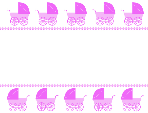 It's A Girl!: A border with pink retro prams on a white background.  Lots of copy space.