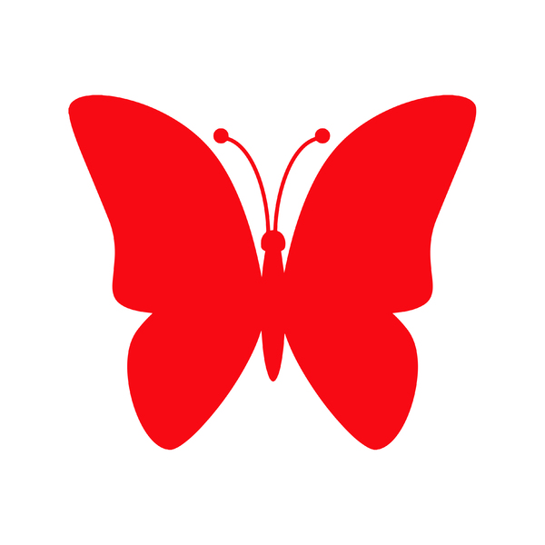 Red Butterfly Icon: Red butterfly icon on white background