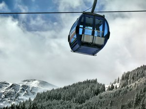 In the air...: Cable-car cabin on track...
