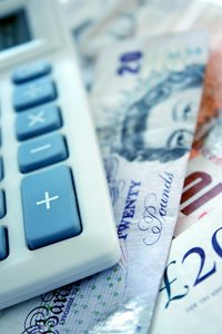Calculator Banknotes: Calculator with sterling banknotes