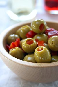 Olive Bowl: Wooden bowl with green olives