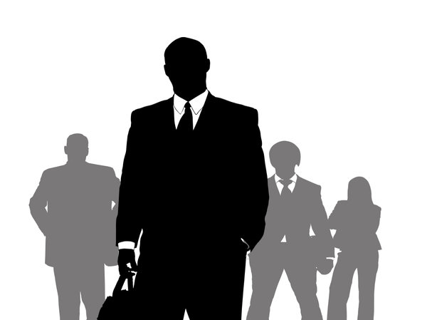 Business Leader: A group of business people against a white background
