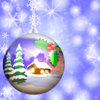 Christmas Hanging Bauble: A Christmas bauble with a winter scene against a snowy backdrop with stars. House is from public domain clipart. You may prefer this: http://www.rgbstock.com/photo/mWBsC7S/Christmas+Baubles+3