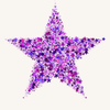 Star of Stars 1: A star shape made of tiny stars in different shades of pink and purple.