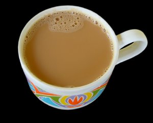 Hot Drink: A large cup of tea or coffee.