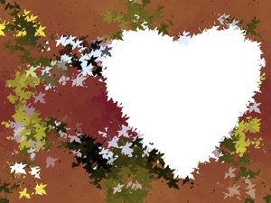 Leafy Heart 1 : A grungy, leafy background with a blank heart shape.