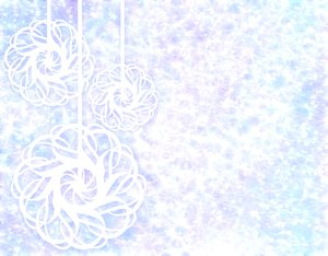 Christmas Backdrop 1: Hanging baubles against stars and snowflakes, with a xmas glow.