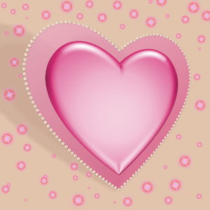 Pastel Valentine 2: Pastel pink decorative heart set at an angle, with a pearl border against a neutral background with lights or stars. Suitable for Valentine's Day, Birthday, Anniversary, Mother's Day or even a wedding.